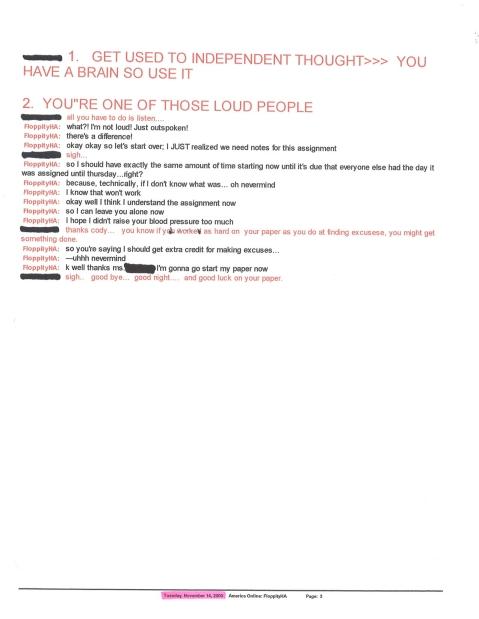 November 14, 2000 AIM Conversation w Teacher Pg3
