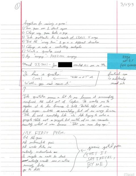 March 24, 2003: Satirical generic goth poem, plus class dynamics