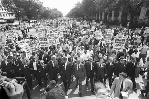 "The clergyman and civil rights leader Martin Luther KIng (3rd from left) and other black and white civil right leaders march 28 August 1963 on the Mall in Washington DC during the ""March on Washington""."